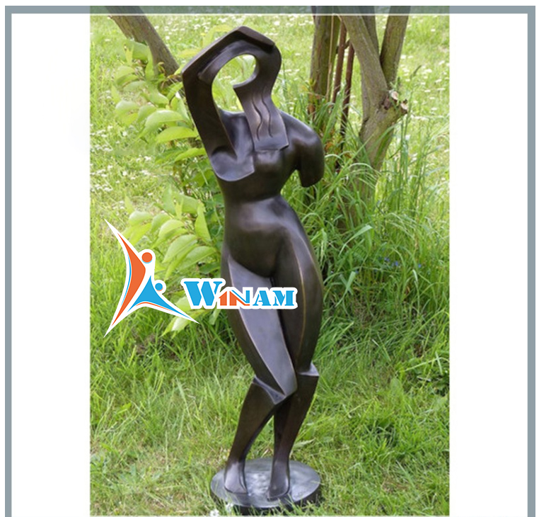 Abstract One- Armed Nude Female Bronze Sculpture