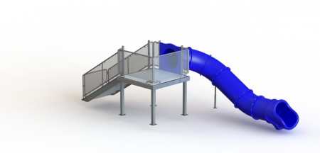 Single Left Flume Water Slide, Rear Stair