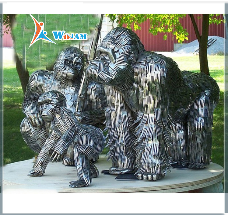 Public Art Animal Decor Life Size Gorilla Sculptures