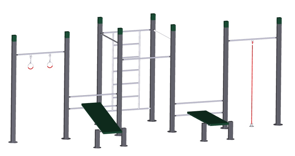 Pull up bars,bench,rope& rings