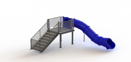 Single Angle Flume Water Slide, Right Stair