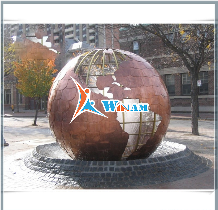 Hollow Globe Brass Water Fountain Sculpture