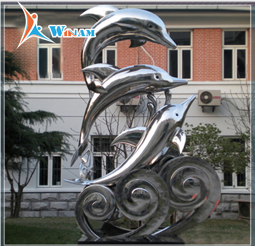 Mirror Polished Stainless Steel Dolphin Animal Sculpture