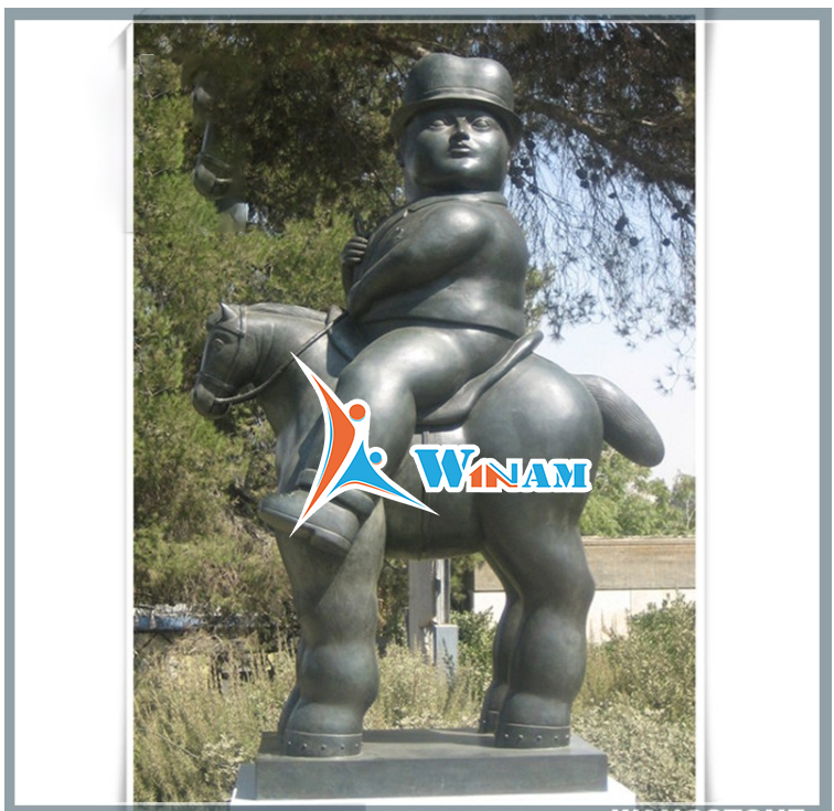 Fat Boy Riding a Horse Bronze Sculpture