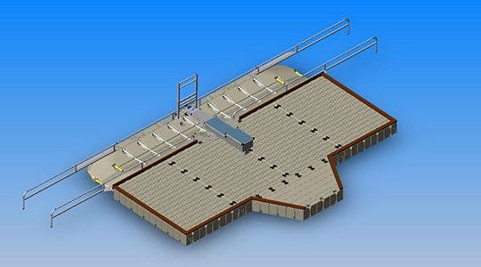 EZ Launch®, Drive through with ports, large dock and bench