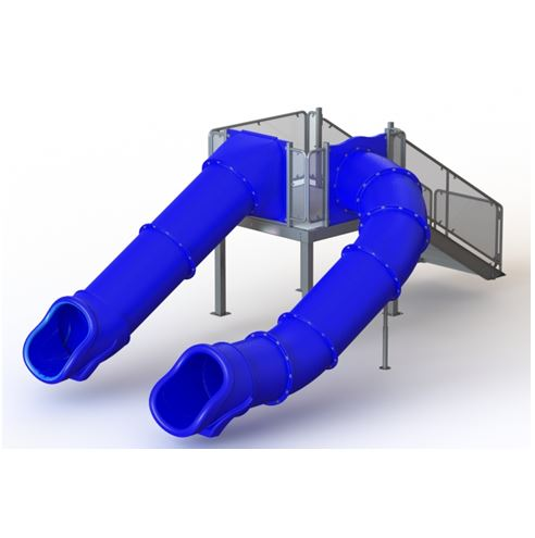 Double Center/Left Flume Water Slide, Rear Stair