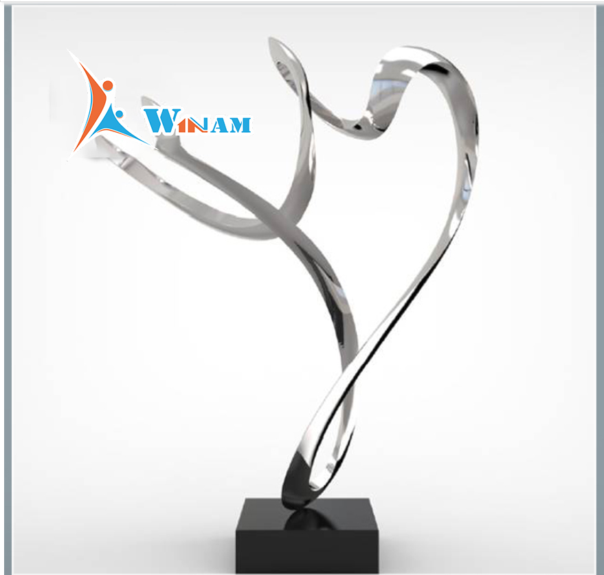 Modern stainless steel abstract art sculpture for indoor decoration