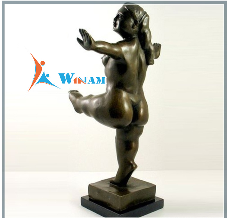 Collectible Use Naked Fat Dancing Woman Bronze Sculpture
