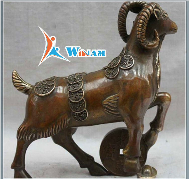 Home Decoration Brass Goat Art Work