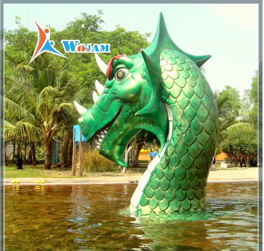 Car painting green stainless steel dragon water fountain