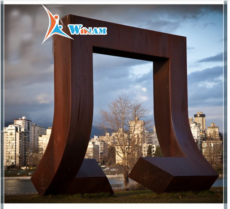 Large corten landscaping sculpture