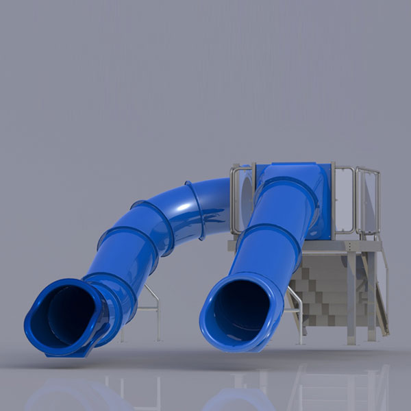 Double Right/Center Flume Water Slide, Rear Stair
