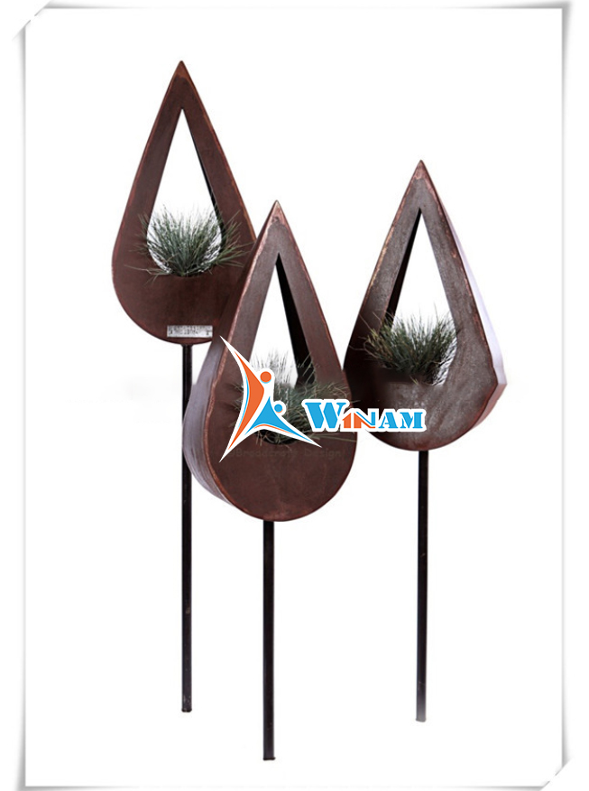 Striking art corten steel lightweight flower pot for home decoration