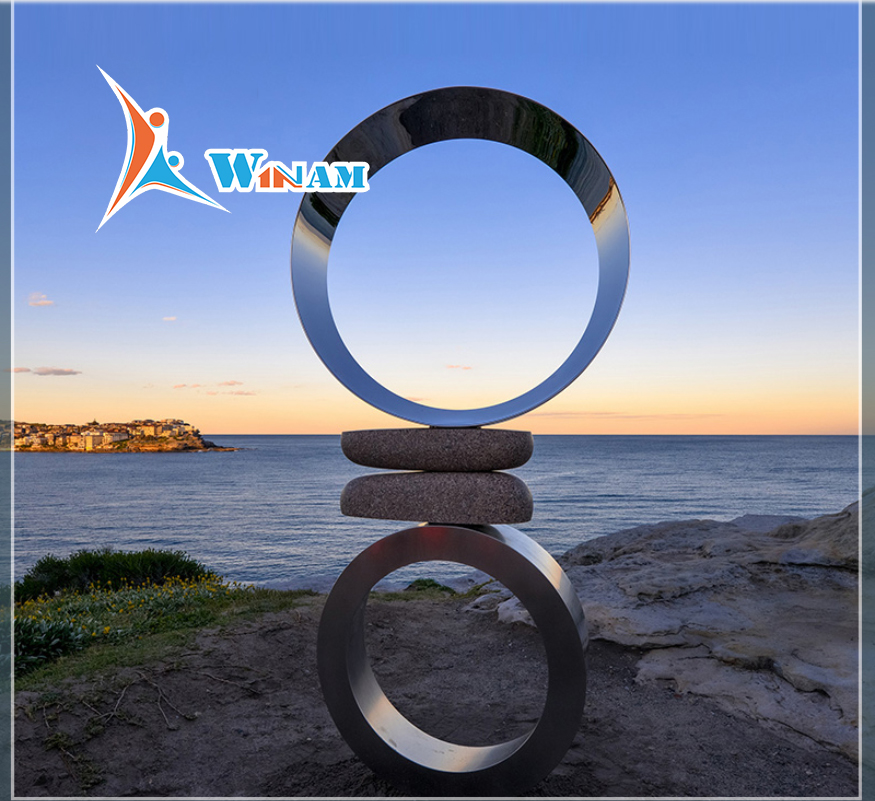 Hot sale outdoor circle stainless steel garden sculptures for sale