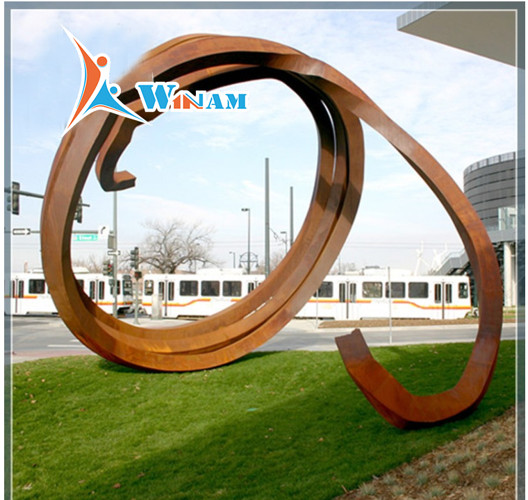 Typical Style Round Shape Corten Steel Sculpture For Scenery Decoration