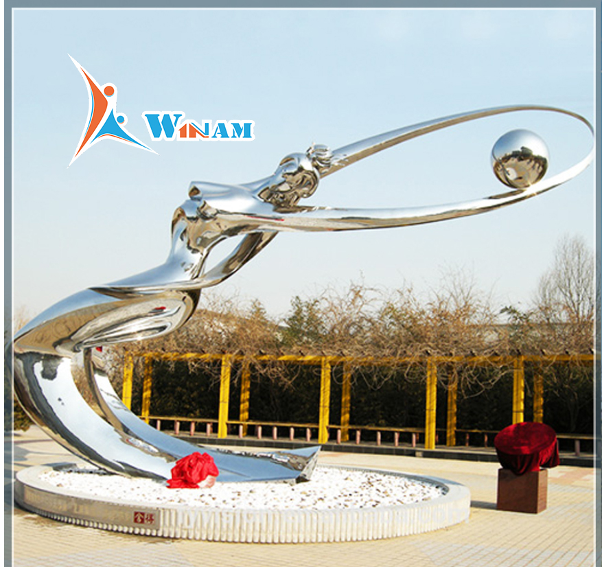 Outdoor landscape design stainless steel life size women statues