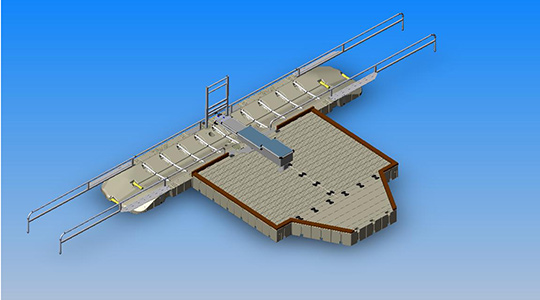 EZ Launch®, Drive through with ports, dock and bench