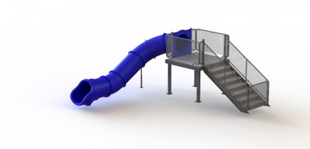 Single Angle Flume Water Slide, Left Stair
