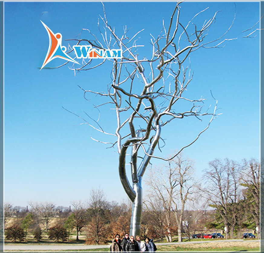 Handmade stainless steel art tree sculpture for outdoor decoration