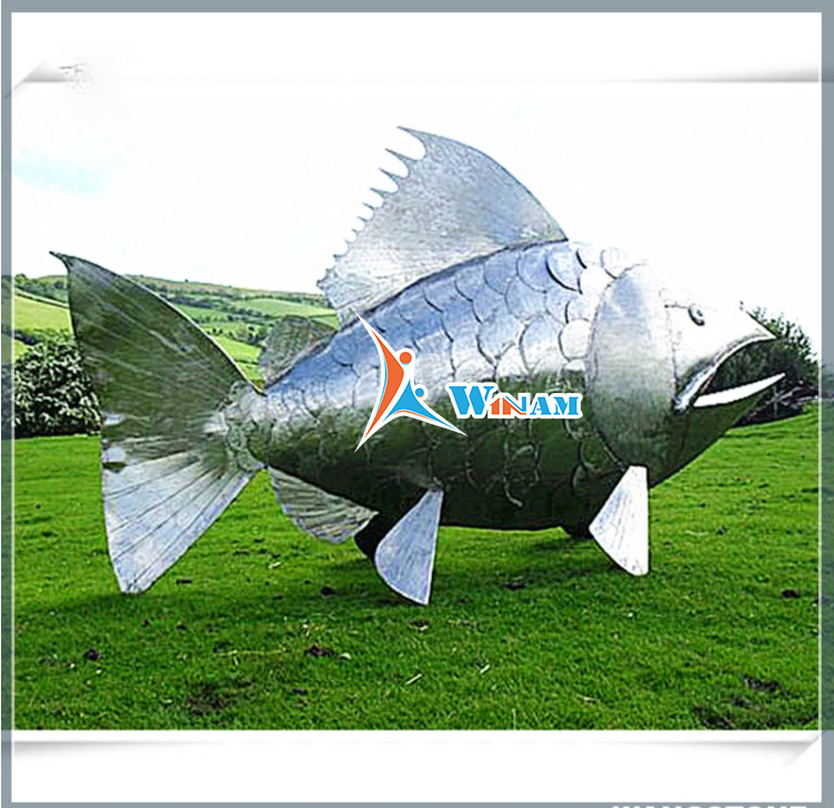 Spectacular Stainless Steel Fish Garden Statue