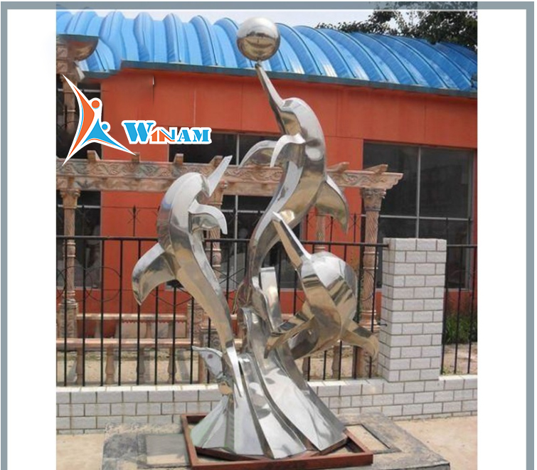 Dolphin playing ball stainless steel sculpture for Architecture Landscape