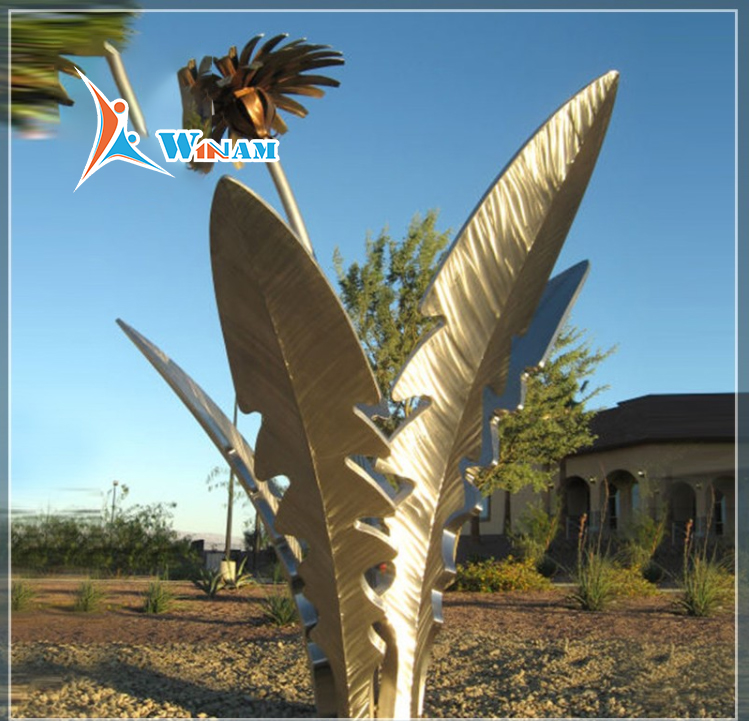 Large outdoor stainless steel polished flower sculpture