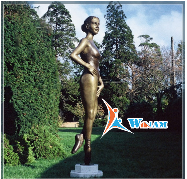 Elegant Female Dancer Bronze Ballet Dancer Sculpture for Garden Decor