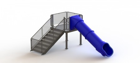 Single Straight Flume Water Slide, Right Stair