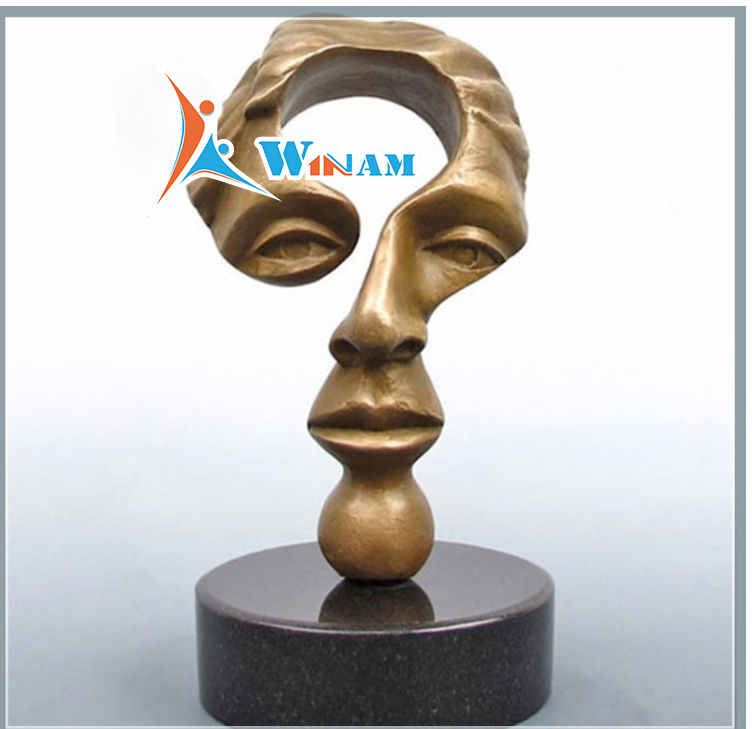 Special Man Face Brass Sculpture in Question Mark Shape
