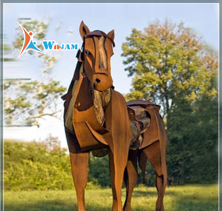 2017 outdoor garden weathering steel life size horse statues for sale