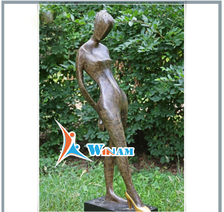 Sexy Naked Asian Woman with High Heel Character Sculpture