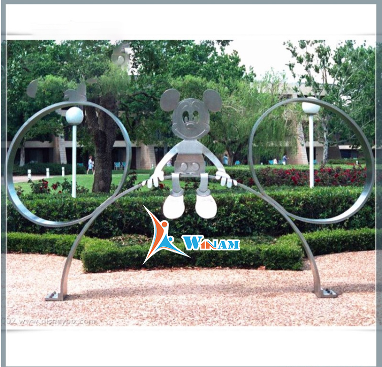 Lovely Stainless Steel Micky Mouse Statue Outdoor Modern Steel Sculpture