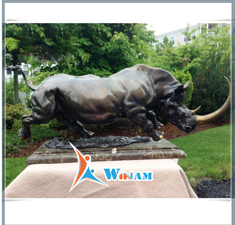Large Garden Decoration Bronze Rhinoceros Sculpture