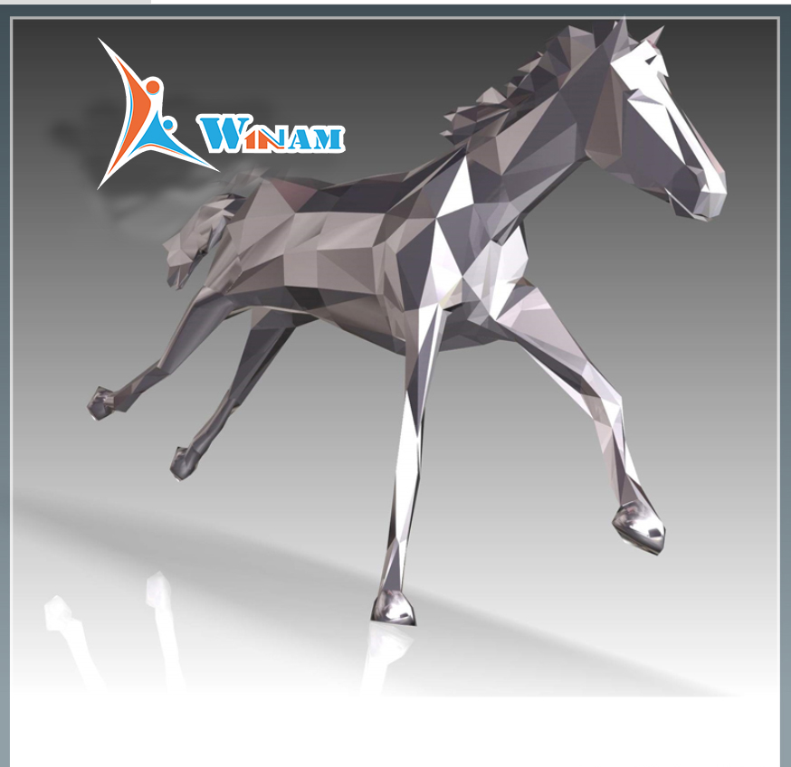Large Stainless Steel 3D Metal Horse Statue
