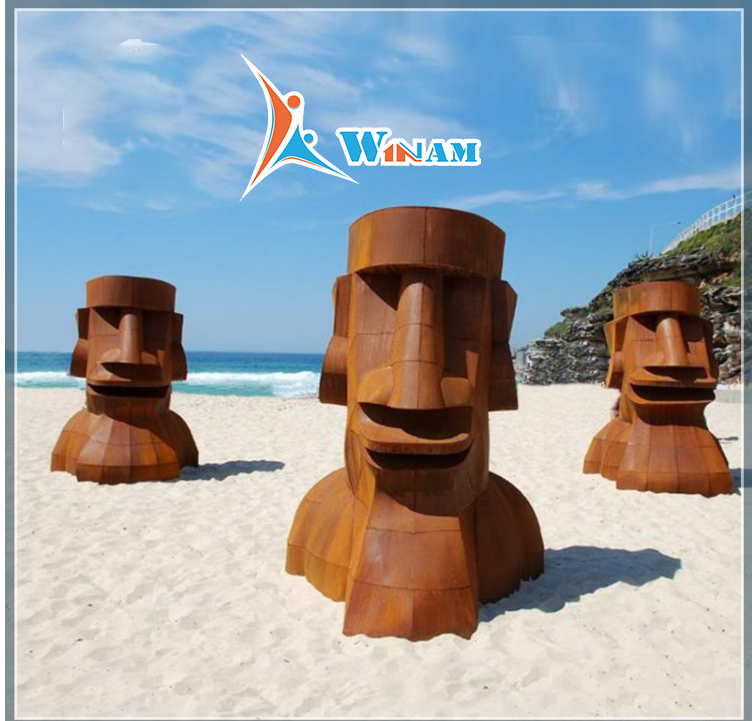 Bali outdoor large corten steel sculpture
