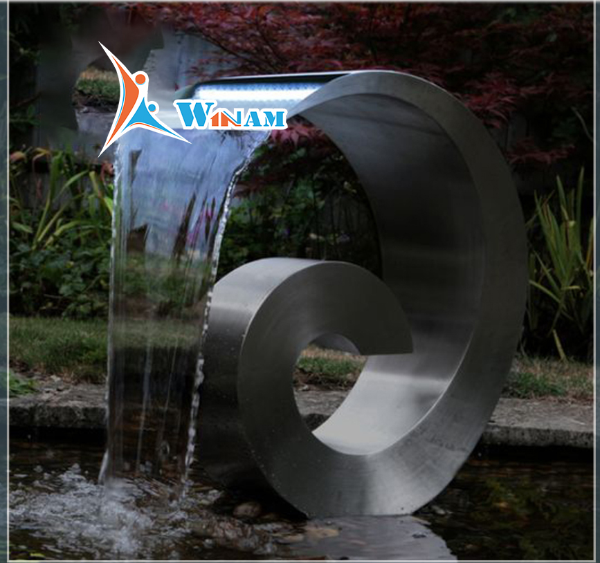 Stainless steel outdoor metal water fountains sculpture