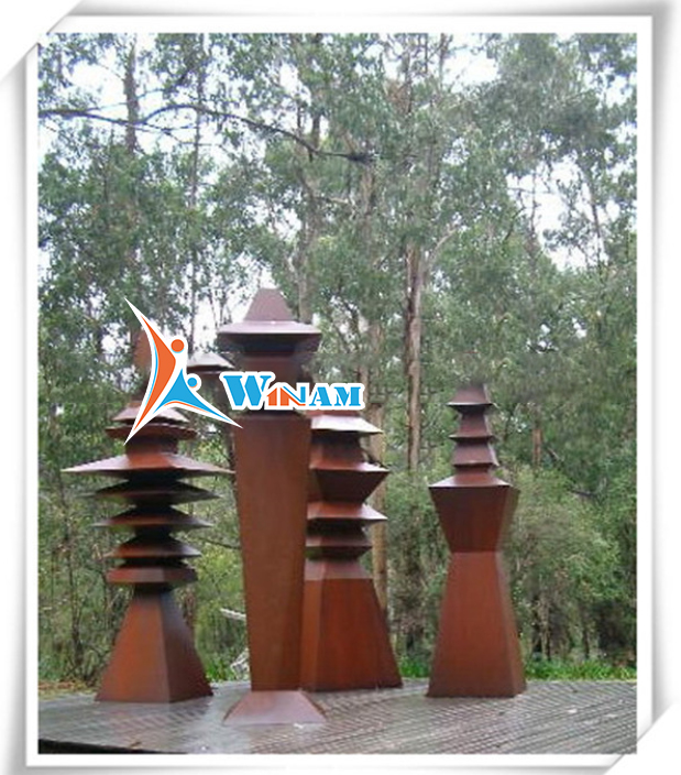 Christmas decor antique top tree tower corten steel art and craft