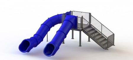 Double Flume Water Slide, Right Stair