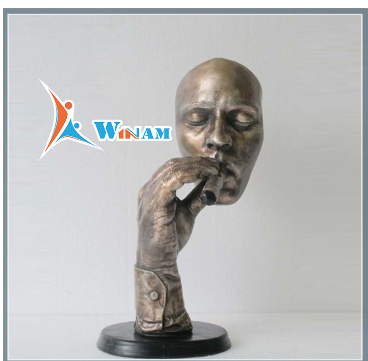 Smoke Cigar Man Face Brass Sculpture