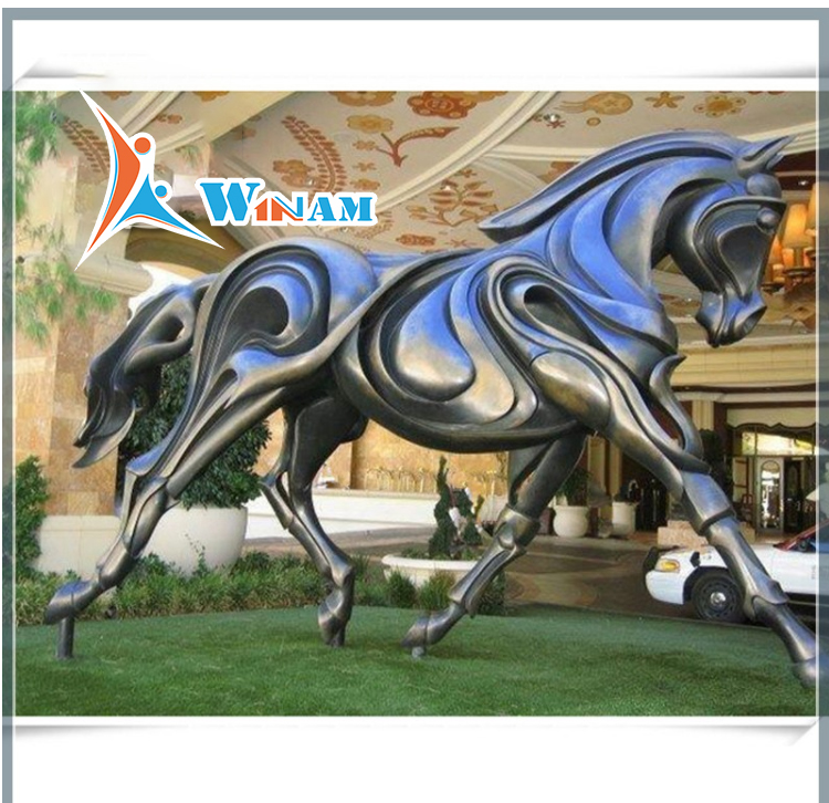 Large Casting Strong Horse Brass Sculpture