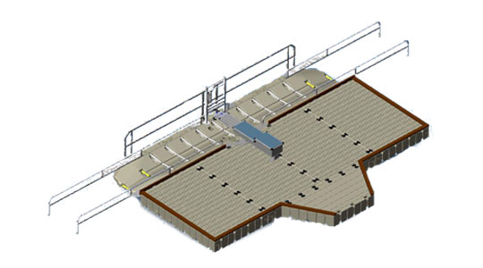 EZ Launch®, Drive through with ports, large dock, bench, and barrier