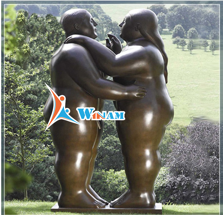 Western Style Fat Dancing Couple Bronze Sculpture