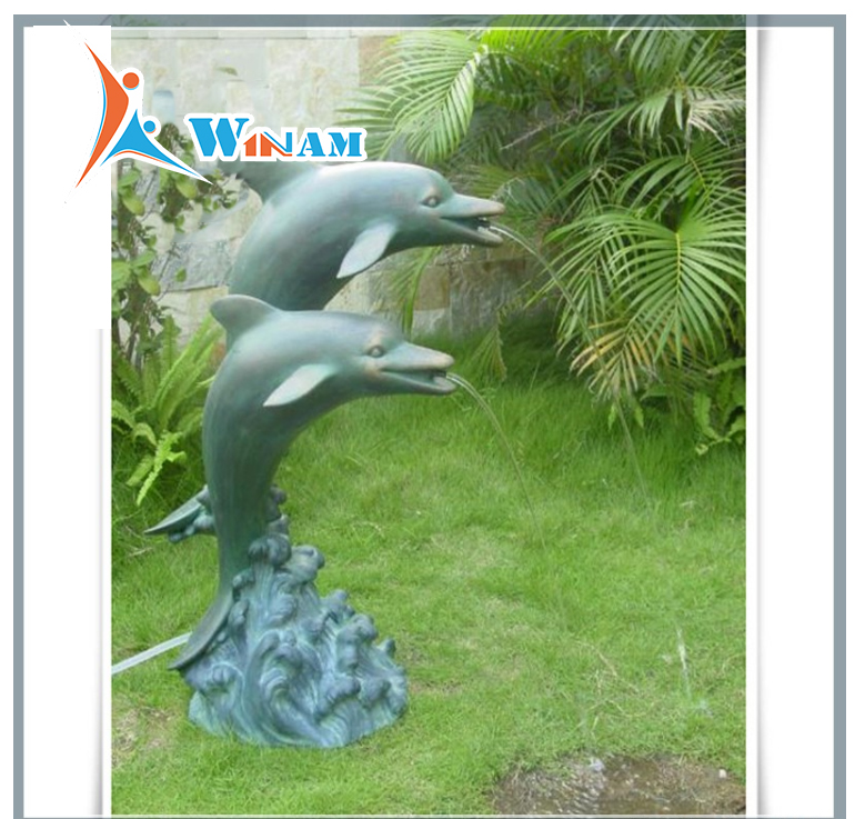 Park Landscaping Cute Bronze Dolphin Water Fountain Sculpture