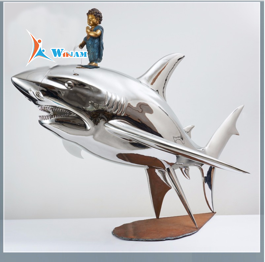 2017 New Outdoor Sculpture Stainless Steel Shark Sculpture