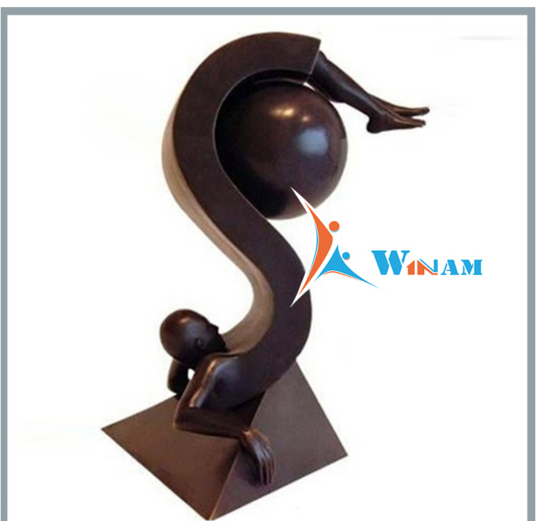 Outdoor Decor Abstract Athlete Casting Bronze Sculpture
