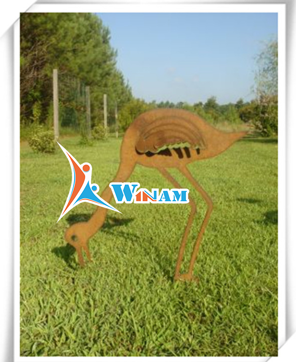 Modern Garden Animal Metal Corten Steel Sculpture Decor