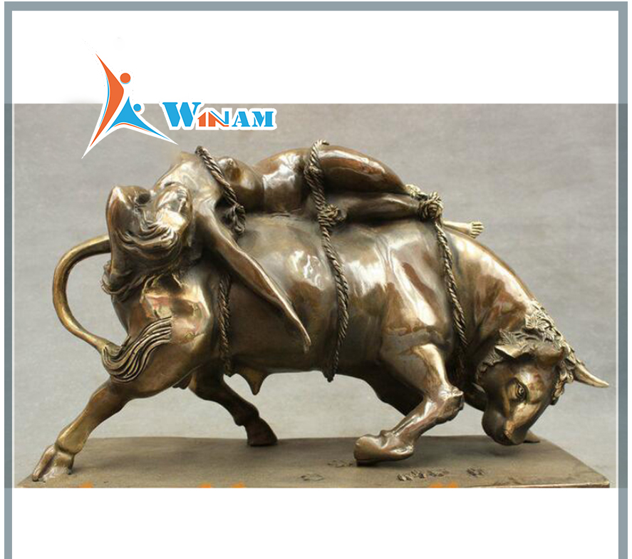 Life size bronze naked lady and bull statue for sale