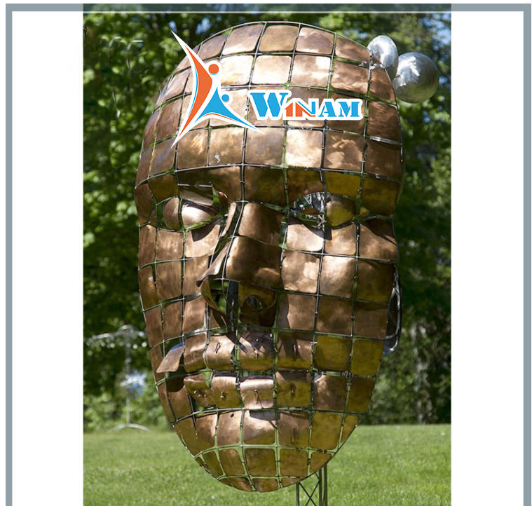 Large Abstract Brass Man Face Sculpture