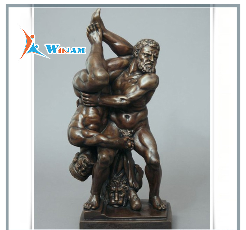 European Feature Wrestling Men Bronze Square Sculpture