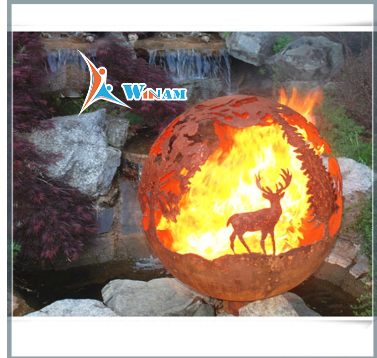 Fashion Hot Ball Shape Corten Steel Fire Pit